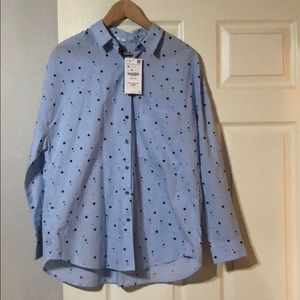 Zara blue started button down shirt